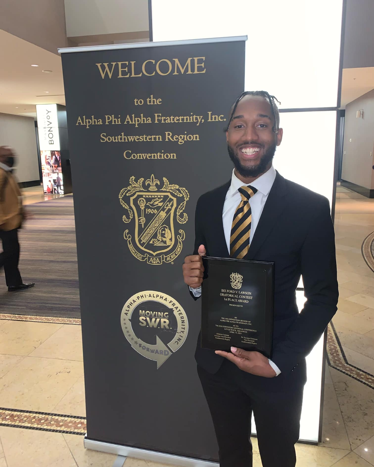 winning 1st Place in the Belford V. Lawson Oratorical Contest at the 75th Annual Alpha Southwest Regional Convention